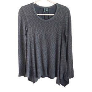 ANTHROPOLOGIE gray mixed media thermal long sleeve